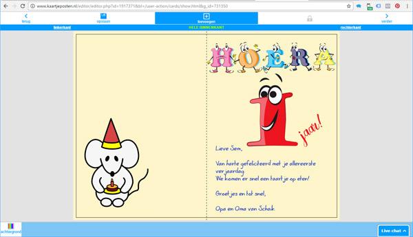 Verjaardagskaart 1 Jaar Online Maken En Versturen