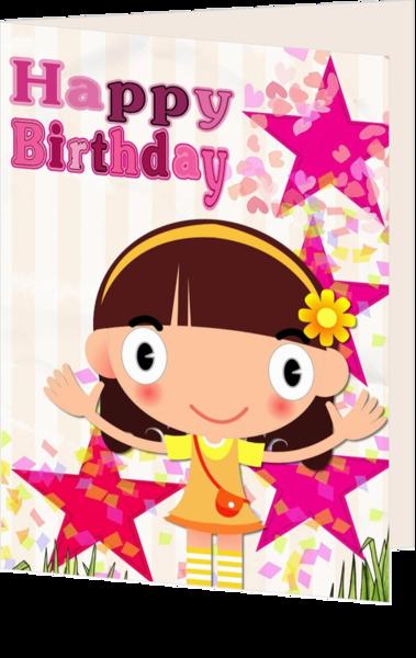 Verjaardagskaart kind meisje sterren mak16041502 | Kaartjeposten.nl