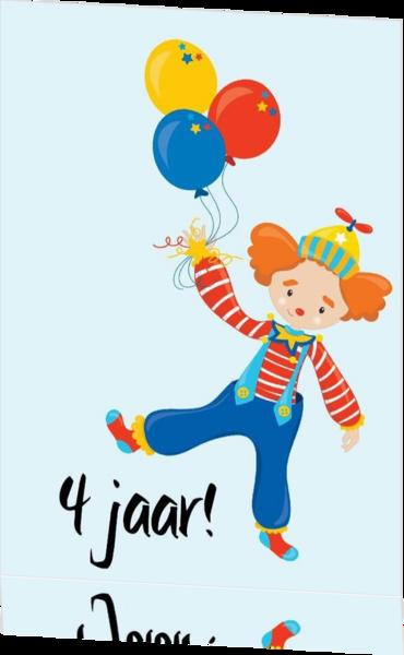 Wonderbaar Verjaardagskaart 4 jaar clown mak17063003v ek   Kaartjeposten.nl DS-04