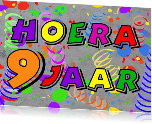 Wonderlijk Verjaardagskaart 9 jaar jb17070709v ek   Kaartjeposten.nl VH-82