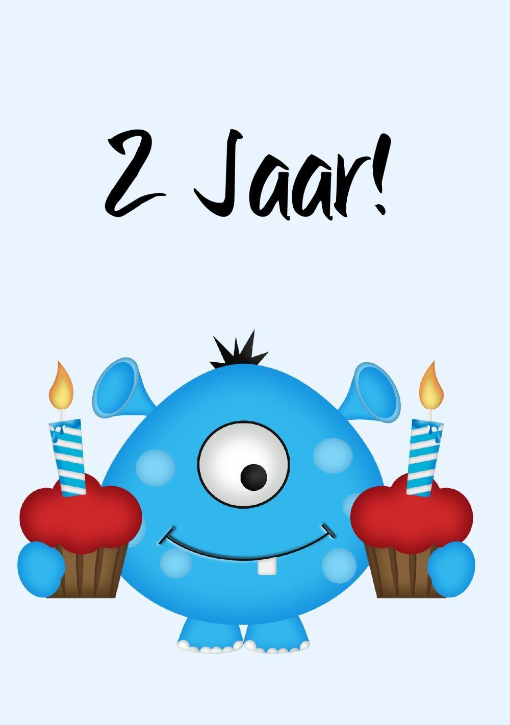 verjaardagskaart kind 2 jaar Verjaardagskaart 2 jaar blauw monster   Kaartjeposten verjaardagskaart kind 2 jaar