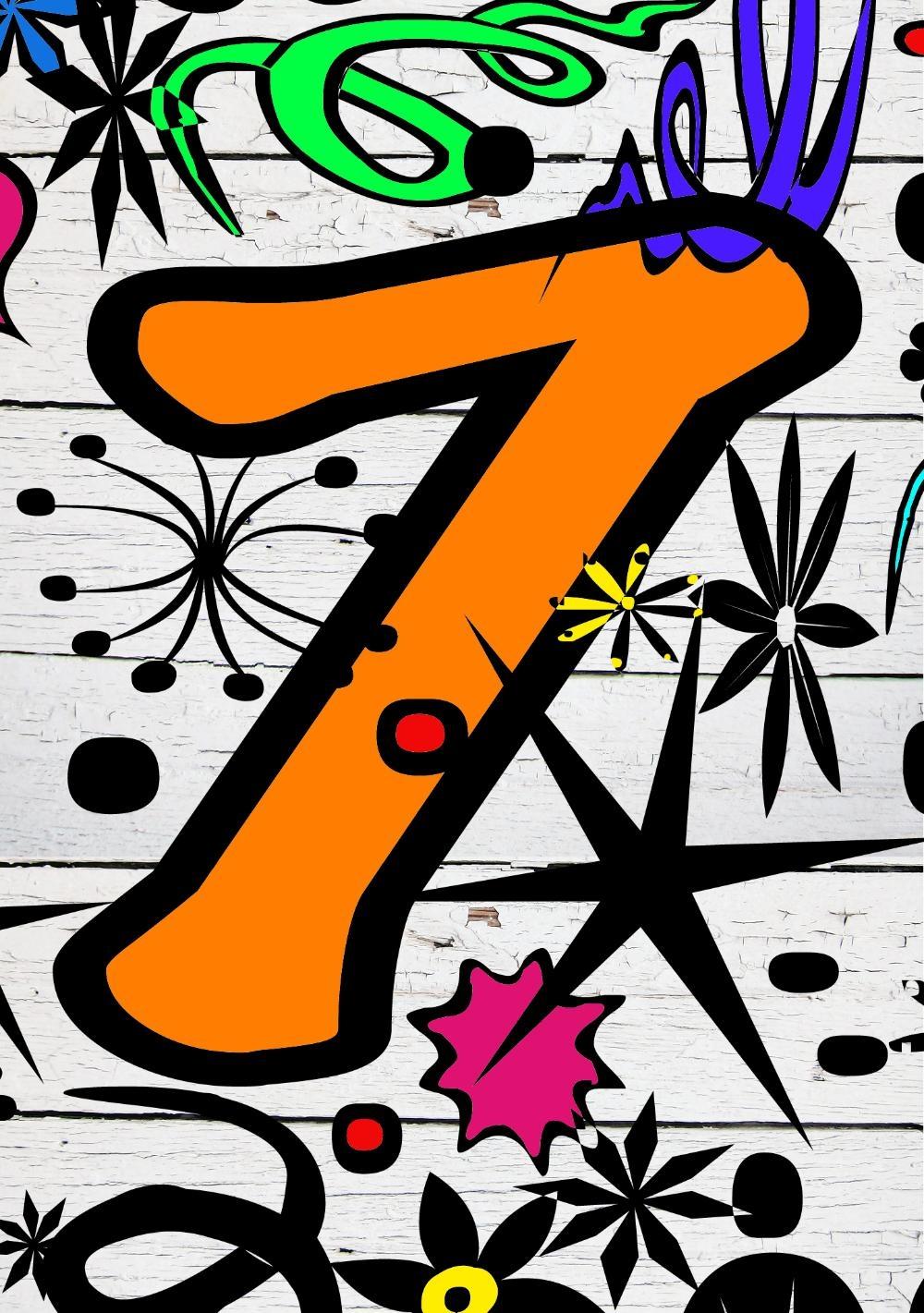 7 jaar kind Verjaardagskaart kind 7 jaar Graffiti   Kaartjeposten.nl 7 jaar kind
