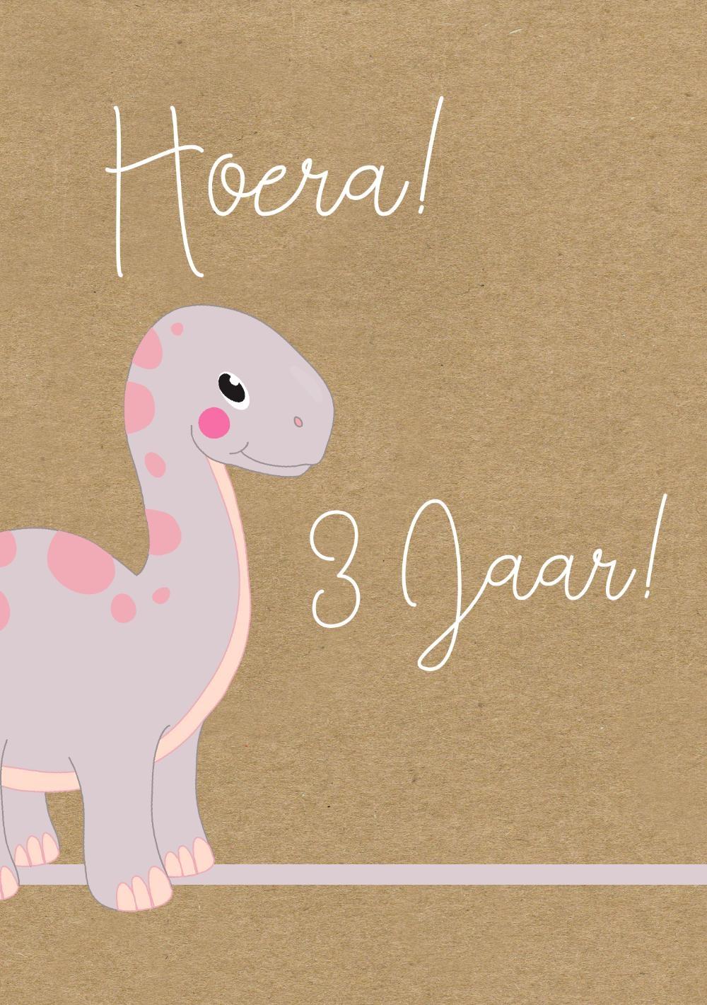 Verjaardagskaart Dinosaurus Kind 3 Jaar Meisje
