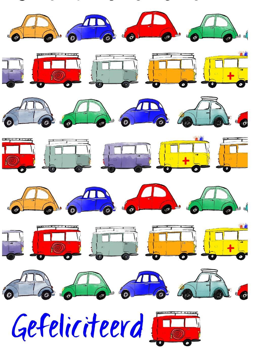 Verjaardagskaart Gekleurde Auto Kaartjeposten Nl