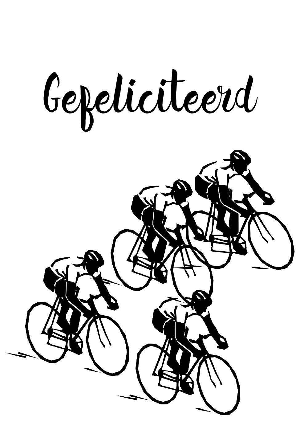 Verjaardagskaart Wielrennen Zwart Wit Kaartjeposten Nl