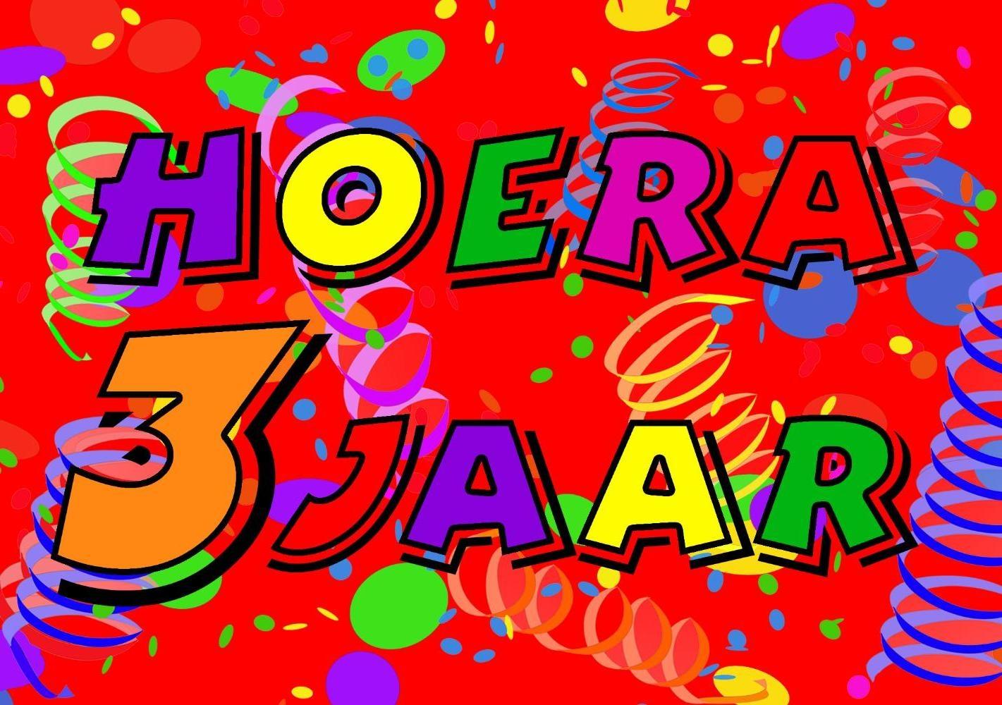 verjaardagskaart kind 3 jaar Verjaardagskaart kind: Hoera 3 jaar!   Kaartjeposten.nl verjaardagskaart kind 3 jaar