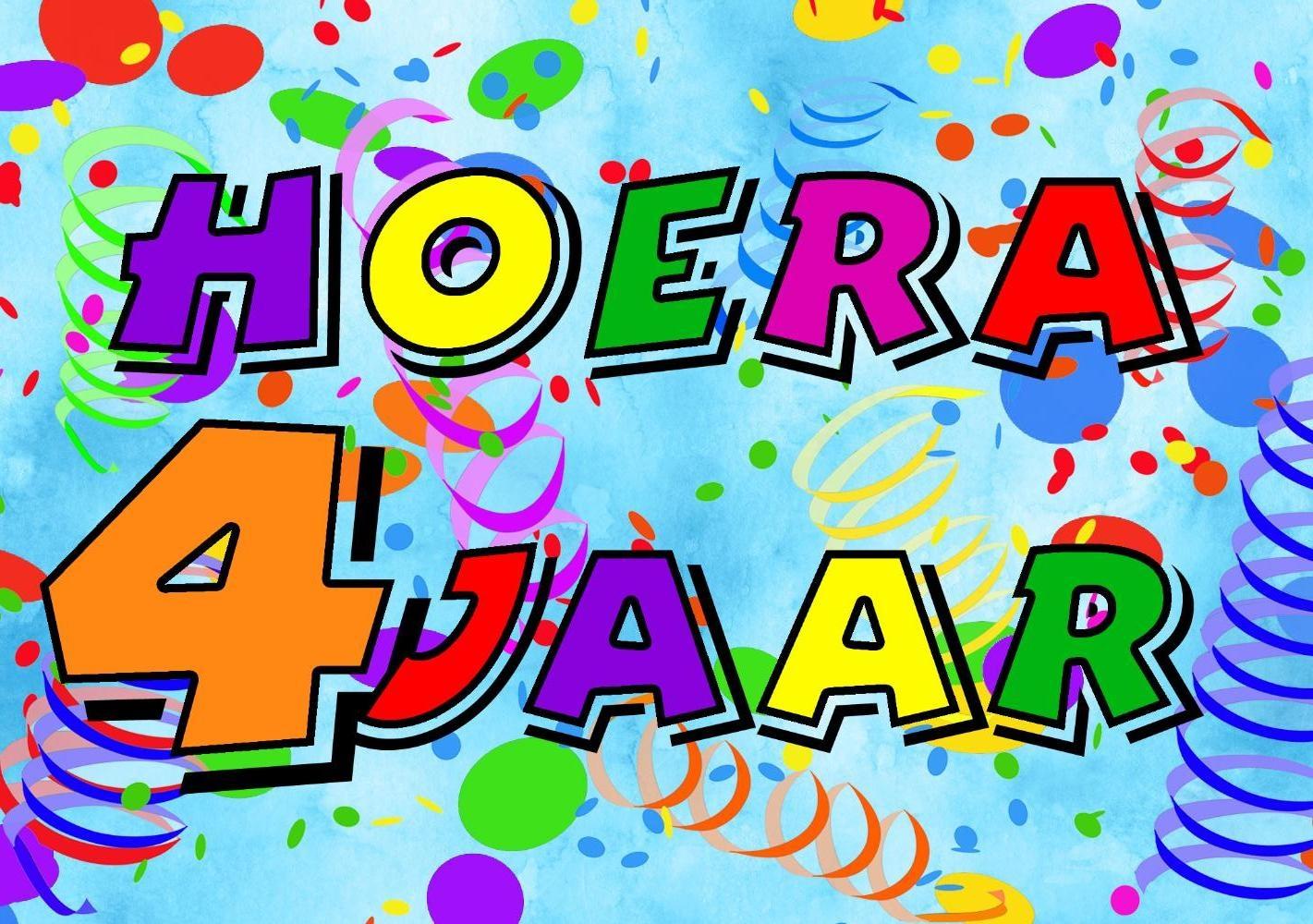 4 jaar verjaardag Verjaardagskaart kind: Hoera 4 jaar!   Kaartjeposten.nl 4 jaar verjaardag