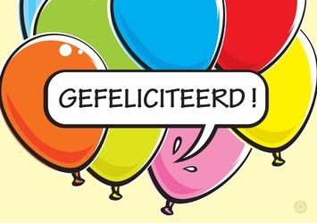 Vaak Verjaardagskaart kind, gekleurde ballonnen - Kaartjeposten @SA48